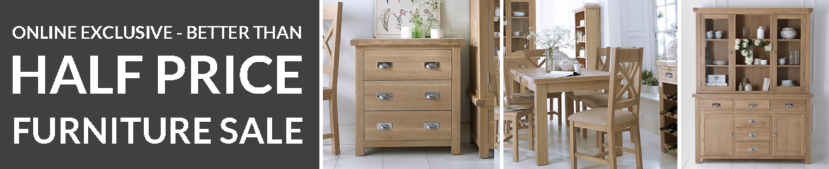 Save 50% Off Oak Furniture Collection Whilst Stocks Last