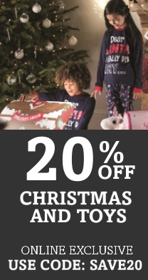 Spend £20 & Save 20% On Toys & Christmas with code: SAVE20 website only offer