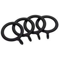 Universal Black Curtain Rings Pack 4