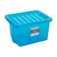 24L Wham Crystal Stacking Plastic Storage Box Blue Clip Lid
