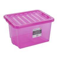 24L Wham Crystal Stacking Plastic Storage Box Pink Clip Lid