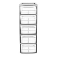 See more information about the 77L Premier 5 Drawer A4 Plastic Storage Tower Clear & Grey