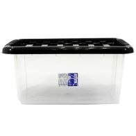 See more information about the 14L TML Stacking Plastic Storage Box Clear & Black Clip Lid