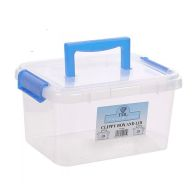 See more information about the 3.5L TML Stacking Plastic Storage Box Clear Clip Lid- Mid Blue Handle