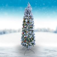 See more information about the Oncor 210cm (7 Foot) Green Allegheny Slim 679 Tips Snowy Tree