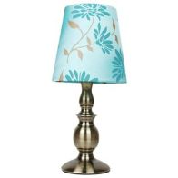 Floral Table Lamp - Duck Egg Blue