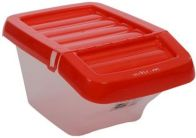See more information about the Wham Recycle Bin Clear/Red Hinged Lid 30Ltr