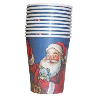 See more information about the Christmas Paper Cup 10 Pack - Blue Santa