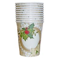 Christmas Paper Cup 10 Pack - Holly Wreath