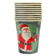 Christmas Paper Cup 10 Pack - Green Santa