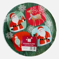Large Christmas Paper Plates 10 Pack - Santa And Rudolph Design