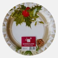 Large Christmas Paper Plates 10 Pack - Holly Design