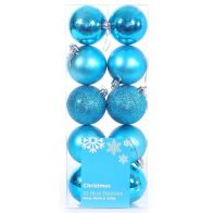 10 Pack of Baubles (6cm) - Blue