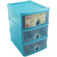 Handi 3 Drawer Plastic Storage Unit Blueberry