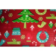 "Festive Table Cloth Flannel Backed 52"" x 52"" Red Decoration Design"