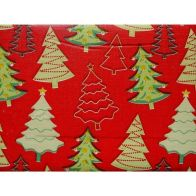 "Festive Table Cloth Flannel Backed 52"" x 52"" Red Tree Design"