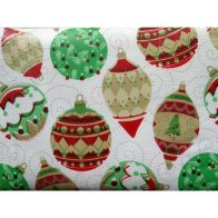 """Festive Table Cloth Flannel Backed 52"""" x 52"""" White Baubles Design"""