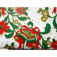 """Festive Table Cloth Flannel Backed 52"""" x 52"""" White Bells Design"""