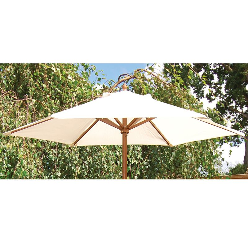 Buy 2m Wooden Parasol Beige   Online at Cherry Lane