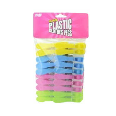 Image of 40 Plastic Clothes Pegs (Various Colours)