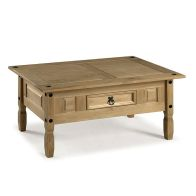 See more information about the Corona Distressed Waxed Pine Coffee Table Furniture