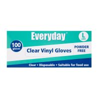 See more information about the Everyday Disposable Clear Vinyl Gloves - Large 100 per pack