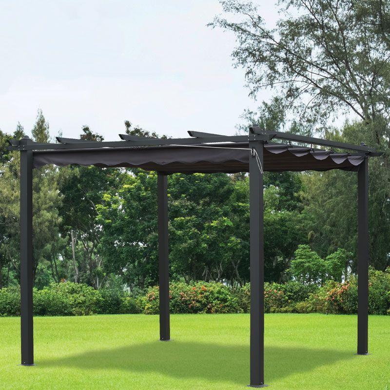 Buy Croft 3m X 3m Charcoal Pergola Summer Garden Gazebo