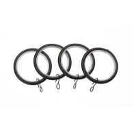 Universal 19mm Black Metal Curtain Rings 4 Pack