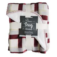 See more information about the 120cm x 150cm Print Fleece Throw Sherpa - Red Check