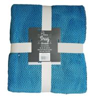 Your Home 120 x 150cm Sherpa Chevron Blue & Black Throw