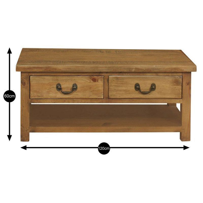 Buy Rustic 2 Drawer Coffee Table Online At Cherry Lane