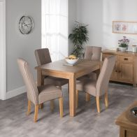 See more information about the Cotswold Oak Dining Table Set With 4 Brown Milan Chairs