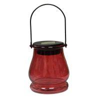 Bright Garden Hanging Jar Solar Light - Red