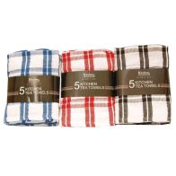 5 Pack Kitchen Tea Towels - Blue