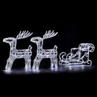 See more information about the 96 LED Ice White Outdoor Two Reindeer & Sledge Decoration Mains 37cm