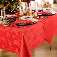 52x70 Tablecloth Red Garland