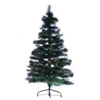 120cm (3 Foot 11 Inch) Green Cone & Berries Fibre Optic Christmas Tree