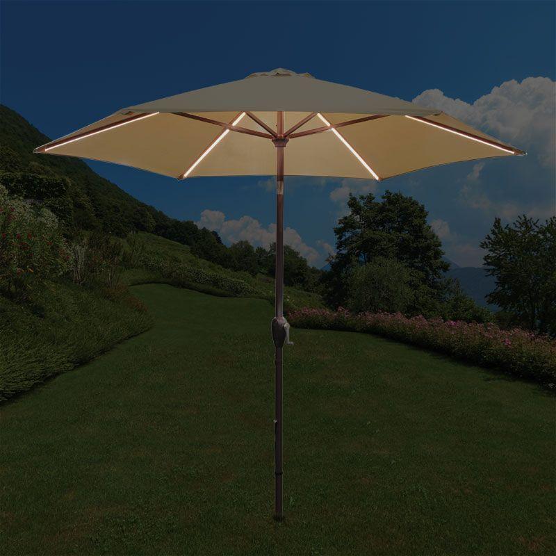 Light Grey 2.2m Aluminium Parasol Croft Garden Outdoor Parasol