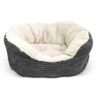 See more information about the Rosewood 40 Winks Jumbo Grey Cord Plush Dog Bed 20 inch (50.5cm)