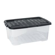 See more information about the 42 Litre Curve Stacking Storage Clear Box & Black Lid