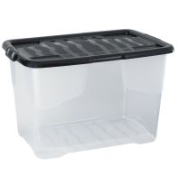 See more information about the 65 Litre Curve Clear Stacking Box & Black Lid