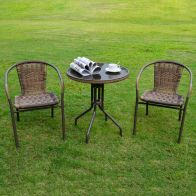 See more information about the Brown Belsay 3 Piece Rattan Bistro Set
