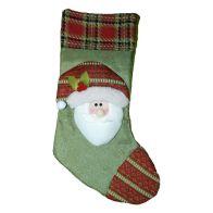 Santa Green Christmas Stocking (51cm x 26cm)