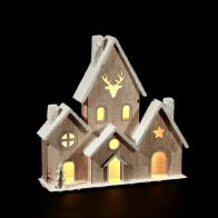 Wooden House Ornament With Snow Effect And 6 Warm White LED Lights