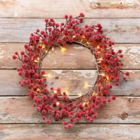 35cm Red Berry Rattan Wreath 30 Light Warm White LED
