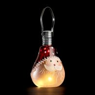 Hanging Glass Santa Warm White LED