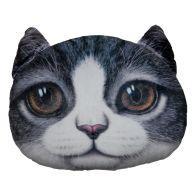 32cm Animal Plush Pillow - Grey Cat With Brown Eyes