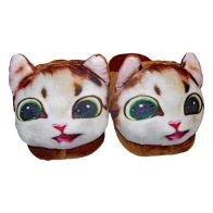 22cm Open Heel Animal Slipper - Brown Cat