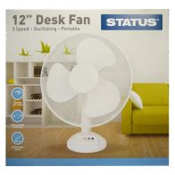 See more information about the Status 12 Inch Oscillating Desk Fan White - 3 Speed