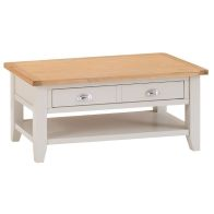 See more information about the Elsing Painted Oak 2 Drawer Coffee Table Furniture